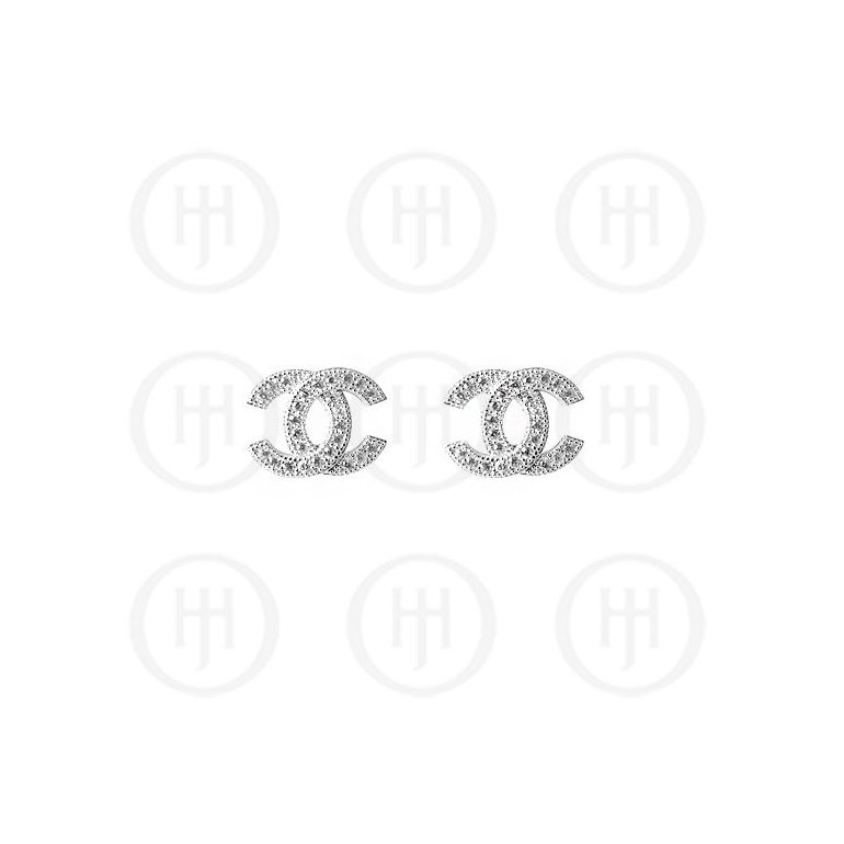 Sterling Silver Assorted CZ Chanel Inspired Stud Earrings