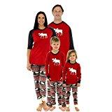 matching family christmas pajamas moose fair isle grey red