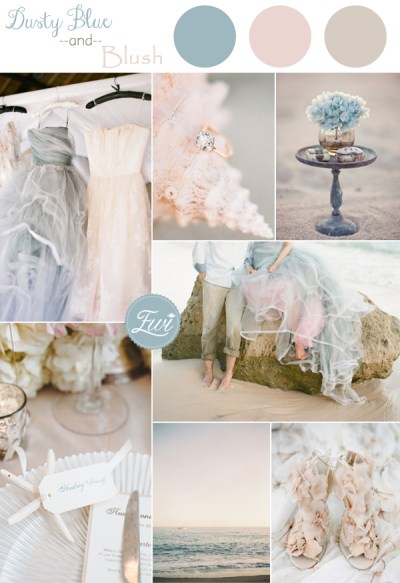 Vow Renewal. Beach Wedding. dusty-blue-and-blush-pink-beach-summer-wedding-color-ideas