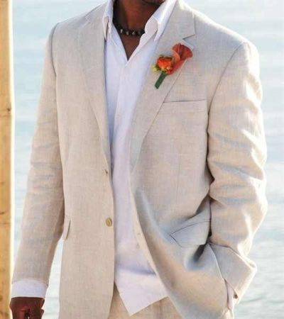 Vow Renewal | Men's Suit | Sand Chambray | Linen | Beach Wedding