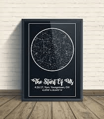 Modern Map Art | Night Sky Map Art | Story of US | Wedding Gift Ideas