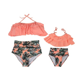 Mommy and mini matching  swimsuits.OrangeLeaf pattern   Mom Daughter Twinning