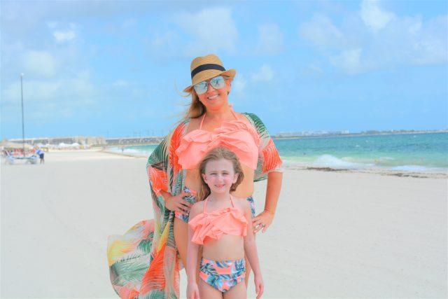 Mommy and Mini Matching Swimsuits | Mom Daughter Twinning Swimsuits | Amazon Influencer | Orange Leaf Bikini | Affordable Swimwear Canada