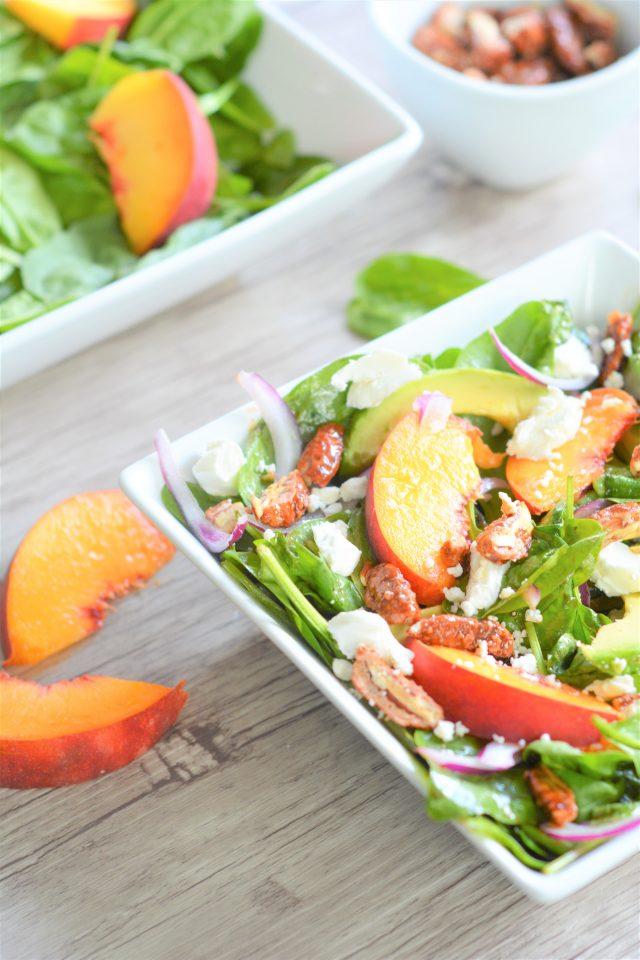 Summer Peach Spinach Salad | Easy Peach Recipes | La Cucina di Kerrs | Eat Local Grown | Simple Family Meals | Flexitarian Meals