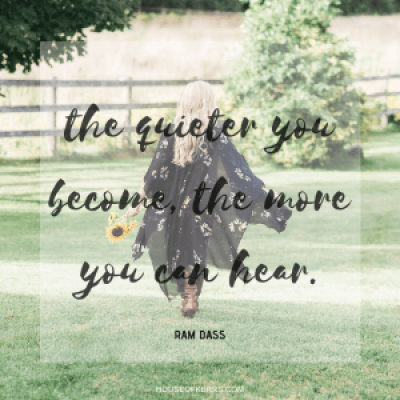 the quieter you become, the more you can hear Ram Dass quote meme