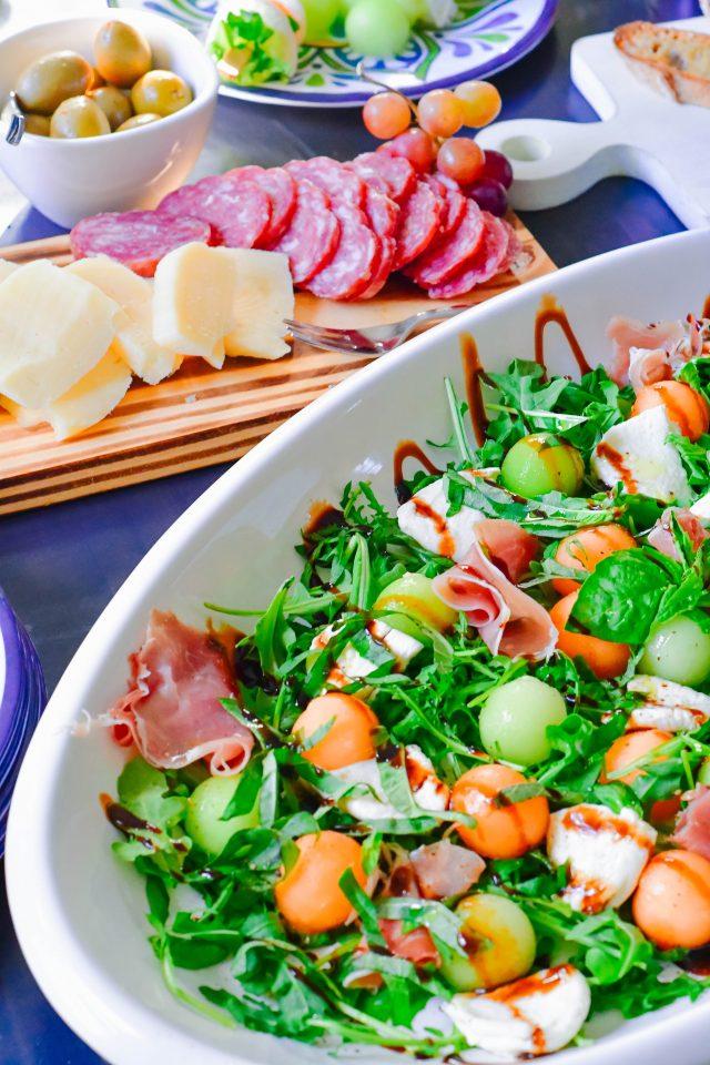 prosciutto melon bocconcini antipasto salad platter family style