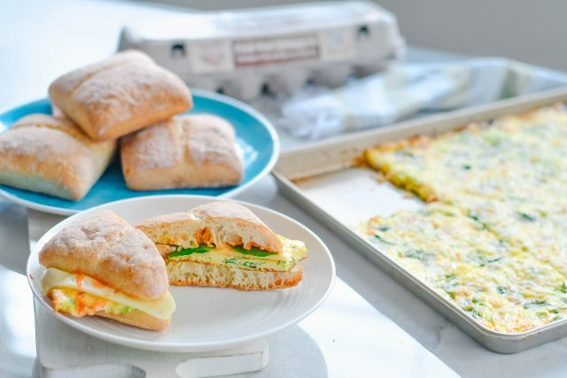 sheet pan egg ciabatta sandwiches