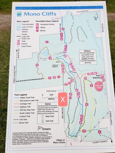 Mono Cliffs Provincial park map where to park to see Jacob's ladder