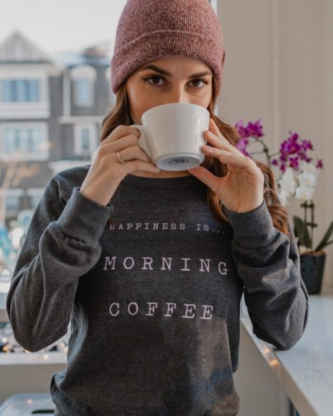 Happiness is Coffee Sweatshirt Holiday GIVE Guide
