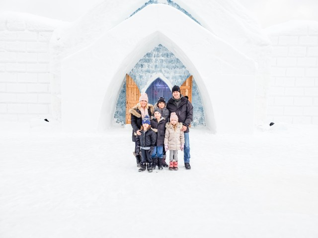 Family of 6 at Hotel de Glace Quebec Valcartier Village