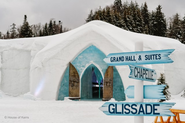 Hotel de Glace is steps from Valcartier Hotel. Shown here - the 20th Anniversary Edition, 2020