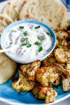 GaramMasalaYogurtDip.Baked Cauliflower Bites.HouseofKerrs.com
