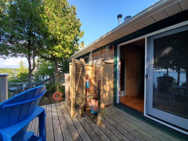 Outdoor deck shower at Azure Cottage by Blue Bay Tobermory