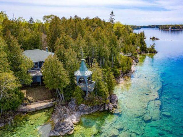 Aerial Shot Blue Bay Azure Cottage Tobermory