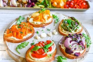 Rainbow Crostini Board with Roasted Vegetables