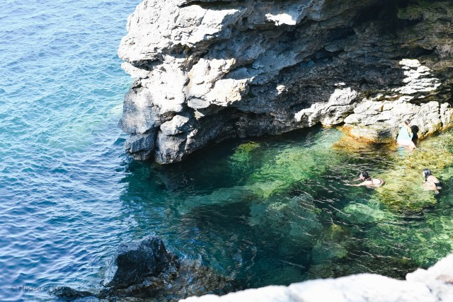 Top down view of The Grotto Tobermory Ontario