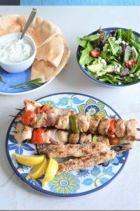 Greek Turkey Kebabs with Homemade Greek Marinade and Salad