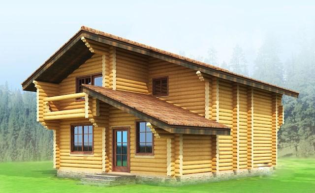 двуетажна дървена къща от цилиндровани трупи