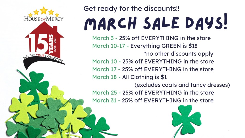 March 2021 Sale Days!