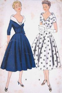 1950s Pattern for Shawl Collar Evening Dresses