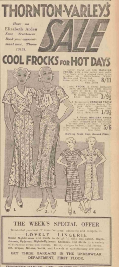 July 1935 Thornton Varley Hull Advertises Cool Frocks For Hot Days