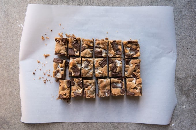 Everybody's favorite campfire treat except in bar form and without going camping! Gooey marshmallows, buttery graham cracker crust, and melty chocolate, all in a wonderful cookie bar that you won't be able to stop eating!