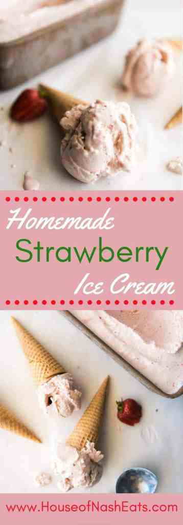 This homemade strawberry ice cream is perfect on its own, in milkshakes or in ice cream sandwiches. It's creamy and sweet and bright, and so, so wonderful!