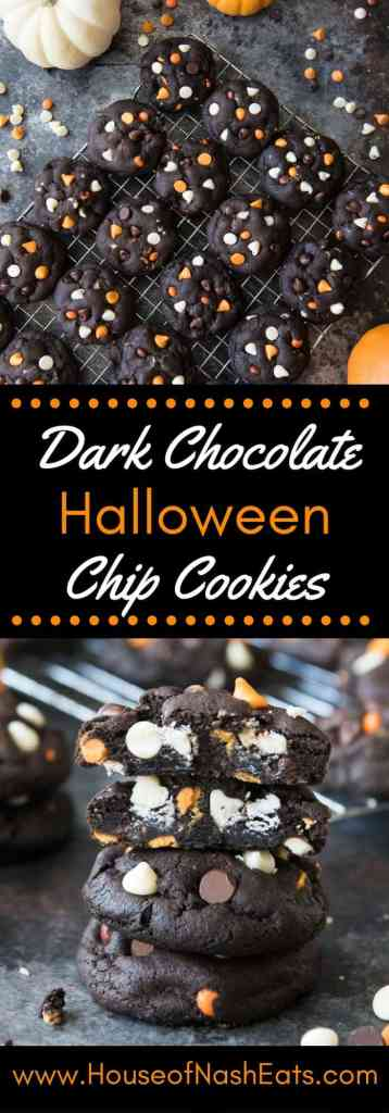 Dark Chocolate Halloween Chip Cookies have a super soft and black-as-night dark chocolate cookie base that is studded with sweet white chocolate chips and creamy peanut butter chips for a frighteningly delicious treat!