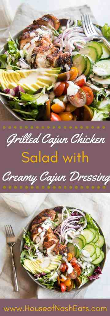 This Grilled Cajun Chicken Salad with Creamy Cajun Dressing is one of my all-time favorite main dish dinner salads! It's got plenty of protein from the spicy grilled Cajun chicken, and a homemade creamy Cajun dressing to help tone down the heat just a bit. And the crisp cucumbers, juicy tomatoes, and creamy avocado are just the thing for a warm summer evening meal!