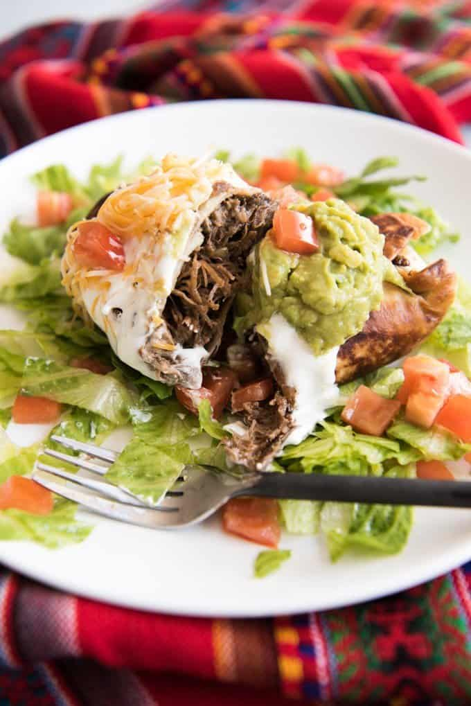 usually shredded chicken or beef. In these Shredded Beef Chimichangas ...