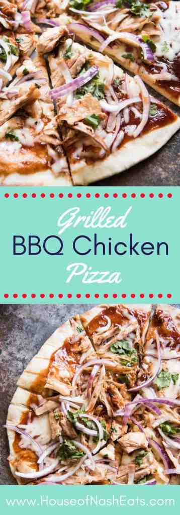 Grilled BBQ Chicken Pizza is loaded with flavor from grilled barbecue chicken, red onions, chopped cilantro and melted mozzarella cheese. The crispy, chewy crust is extra delicious when pizza is prepared on a grill and this post is both a recipe and a how-to tutorial for grilling pizza outside. Perfect for summer!