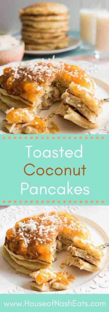 Toasted Coconut Pancakes are light, fluffy, and so easy to make that you don't need to save them just for weekends!Change up your breakfast routine with these yummy and unique pancakes. Made with coconut milk instead of buttermilk, with lots of toasted, sweetened coconut, your family is sure to love these delicious toasted coconut pancakes!