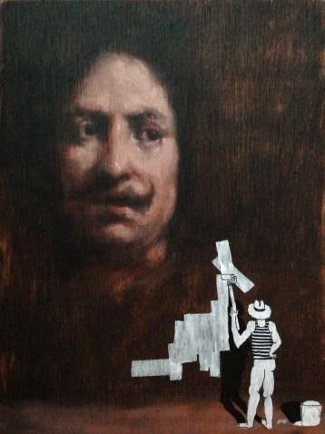 Velazquez / Miniature Asshole. Oil and posca on wood, 23 x 39cm