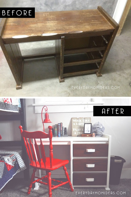 Vintage wood desk make-over project
