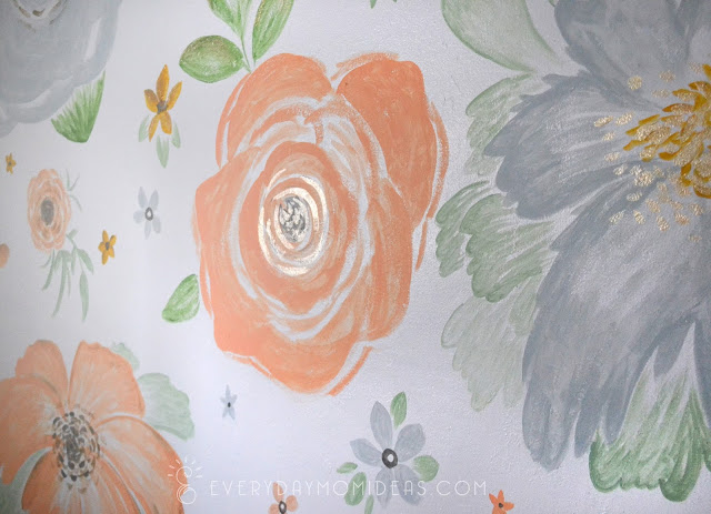 gold accented floral mural wall