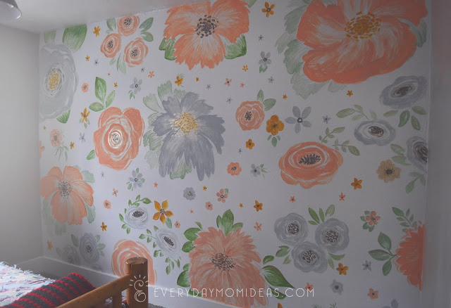 handpainted floral accent wall gold