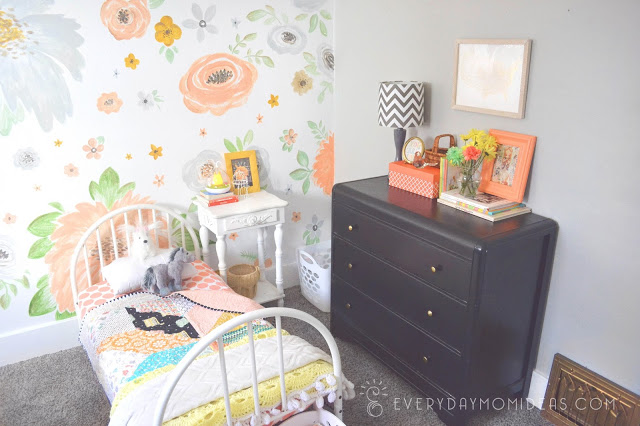 handpainted floral wall girls room
