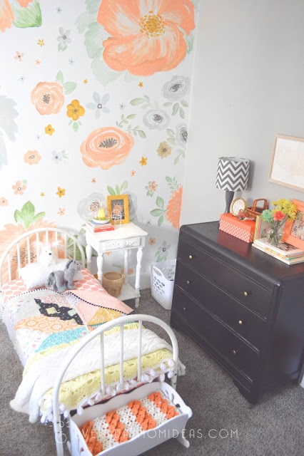 peach grey gold girls room
