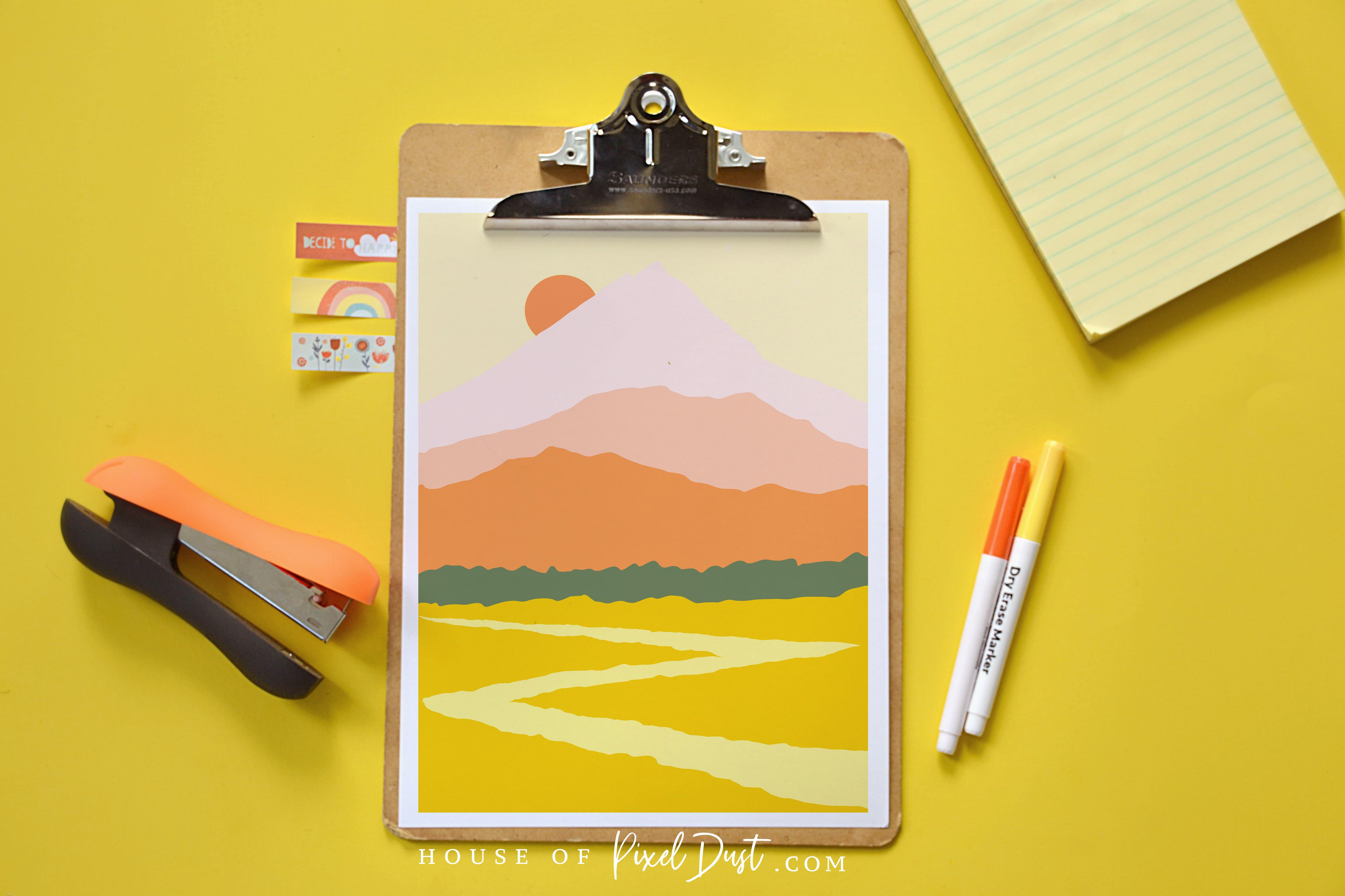 Sunset Mountains (Modern Boho Art Print Freebie)