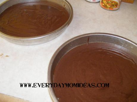 cake batter in two pans