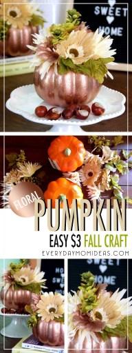 copper floral pumpkin craft