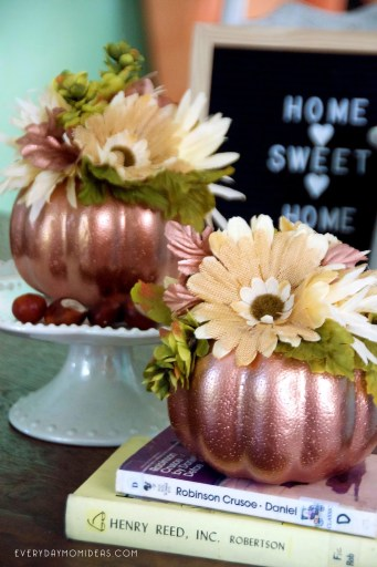 copper floral pumpkin craft