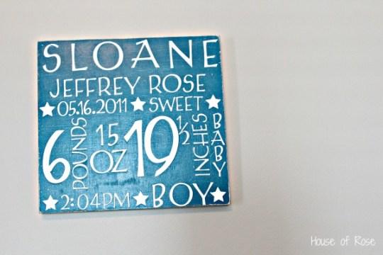 Nursery ideas birth announcement sign