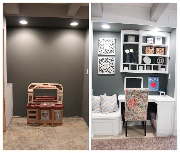 tj maxx chair orange hair salon bedford ma built-in office nook {basement project}