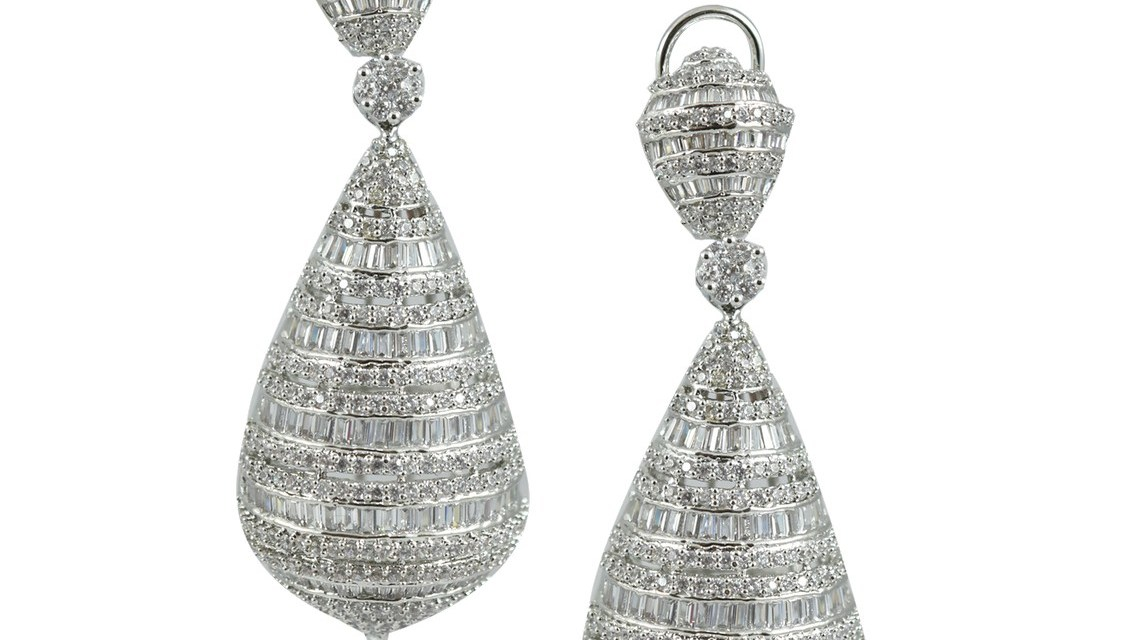 SILVER PLATED DOME FAUX DANGLER EARRINGS