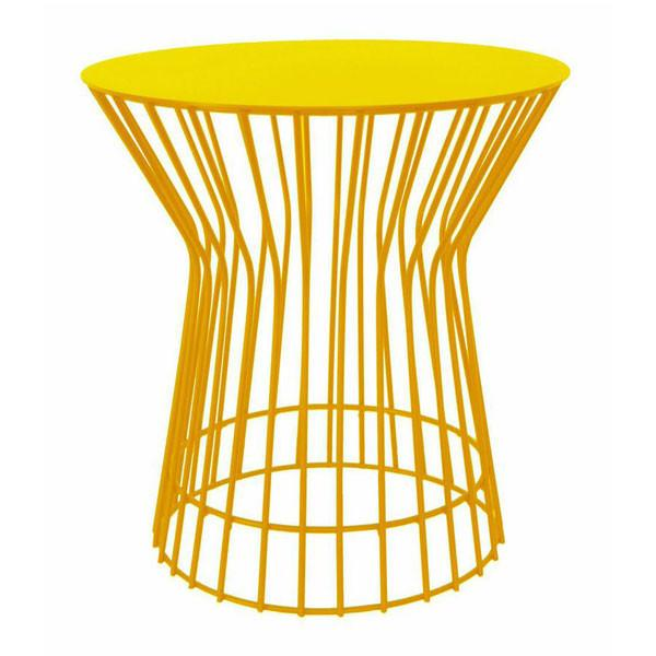Yellow coloured drum side table | Modern Wire Tables
