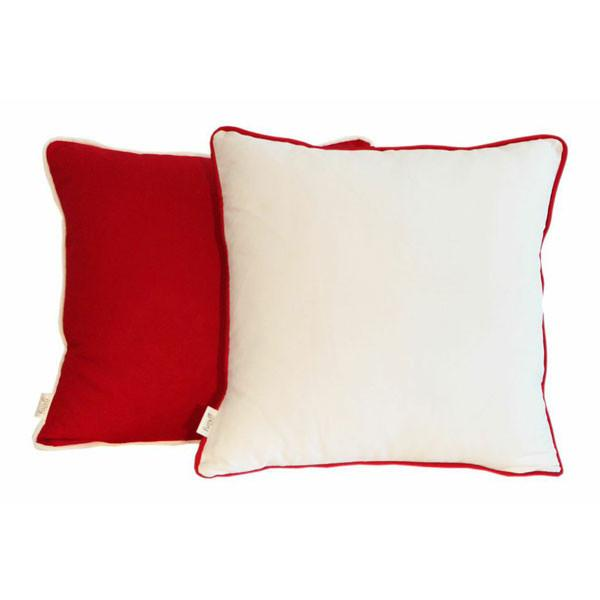 Red and White Scatter Cushions with Colourful Piping