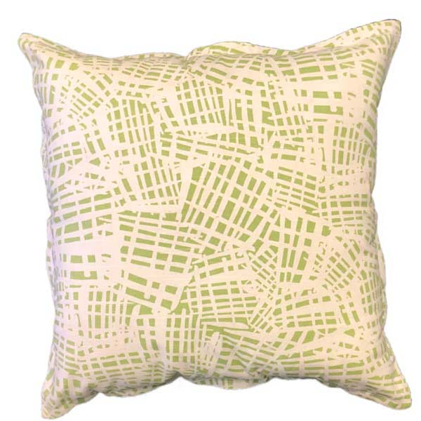Lime criss cross scatter cushions