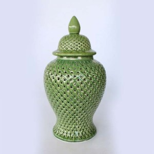 Green Cut out ginger jar