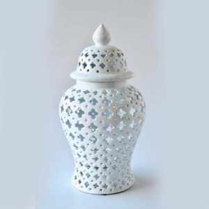 Large Cut-out White Ginger Jar